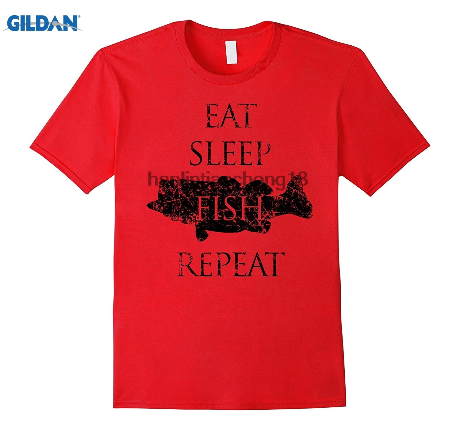 GILDAN 2018 Eat Sleep Fish Repeat Shirt Fathers Day Dad
