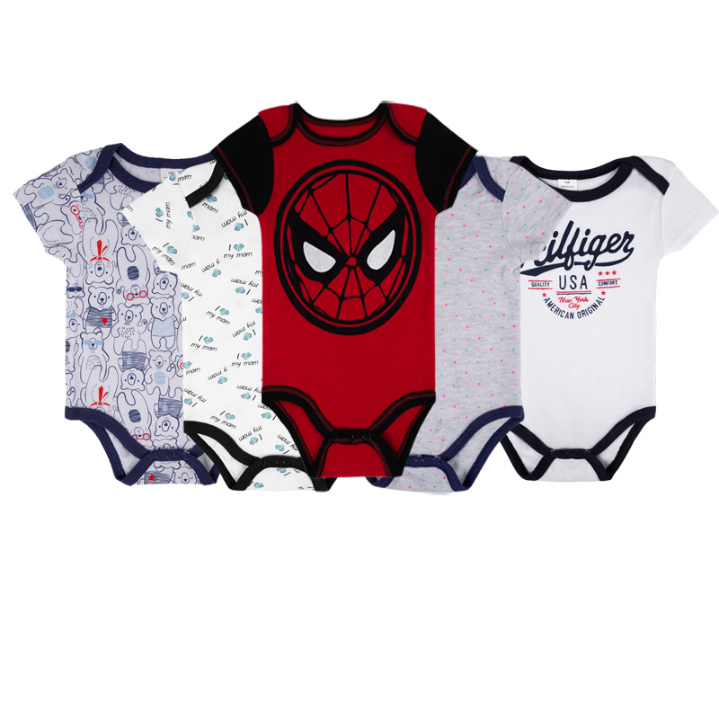 5pcs lot Baby Boy Bodysuit Body Suit Short Sleeve Clothing Cartoon Spiderman Unisex Infant Summer Clothes 2019 Newborn Onesie in Bodysuits from Mother Kids