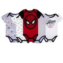 5pcs/lot Baby Boy Bodysuit Body Suit Short Sleeve Clothing Cartoon Spiderman Unisex Infant Summer Clothes 2019 Newborn Onesie