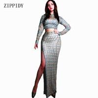 Новый дизайн блестящие серебряные стразы длинная юбка стрейч платье из спандекса для пения, танцев праздничное платье костюм для выпускног