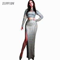 New design Sparkly Silver Rhinestones Long Skirt Stretch Spandex Dress Singer Dance Celebrate Dress Costume Prom Stone Dress