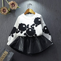 Fashion Autumn Spring Baby Girl 2 piece Sets Printed Shirt+ Skirt Girls Clothing Infantis Kids Clothes Sets