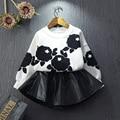 Moda Outono Primavera Baby Girl 2 peça Define Impresso Camisa + Saia Meninas Roupas Infantis Roupa Dos Miúdos Conjuntos