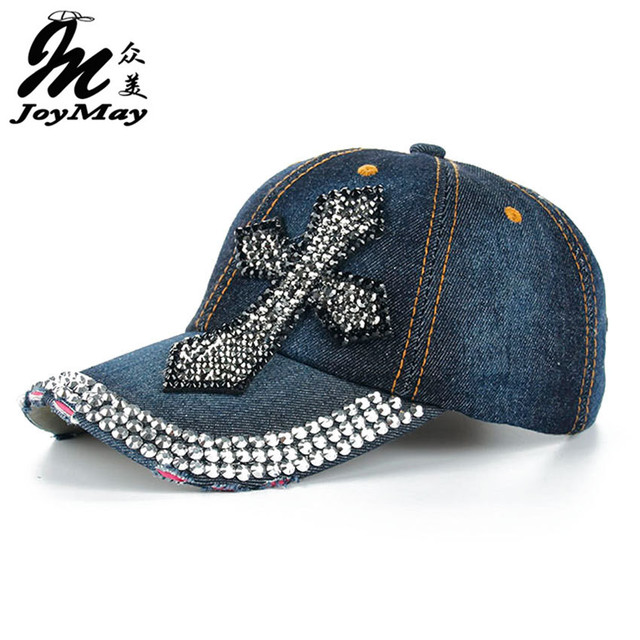 bbcd84b47 High quality JoyMay Hat Cap Fashion Leisure Corss Cap Rhinestones Jean  Cotton CAPS Baseball Cap B135-in Baseball Caps from Women's Clothing & ...