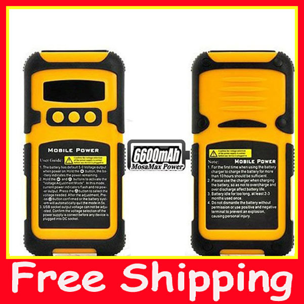 6600mAh Shockproof Waterproof Battery Charger for iPad iPhone laptop which the best travel charger in the world +free shipping -