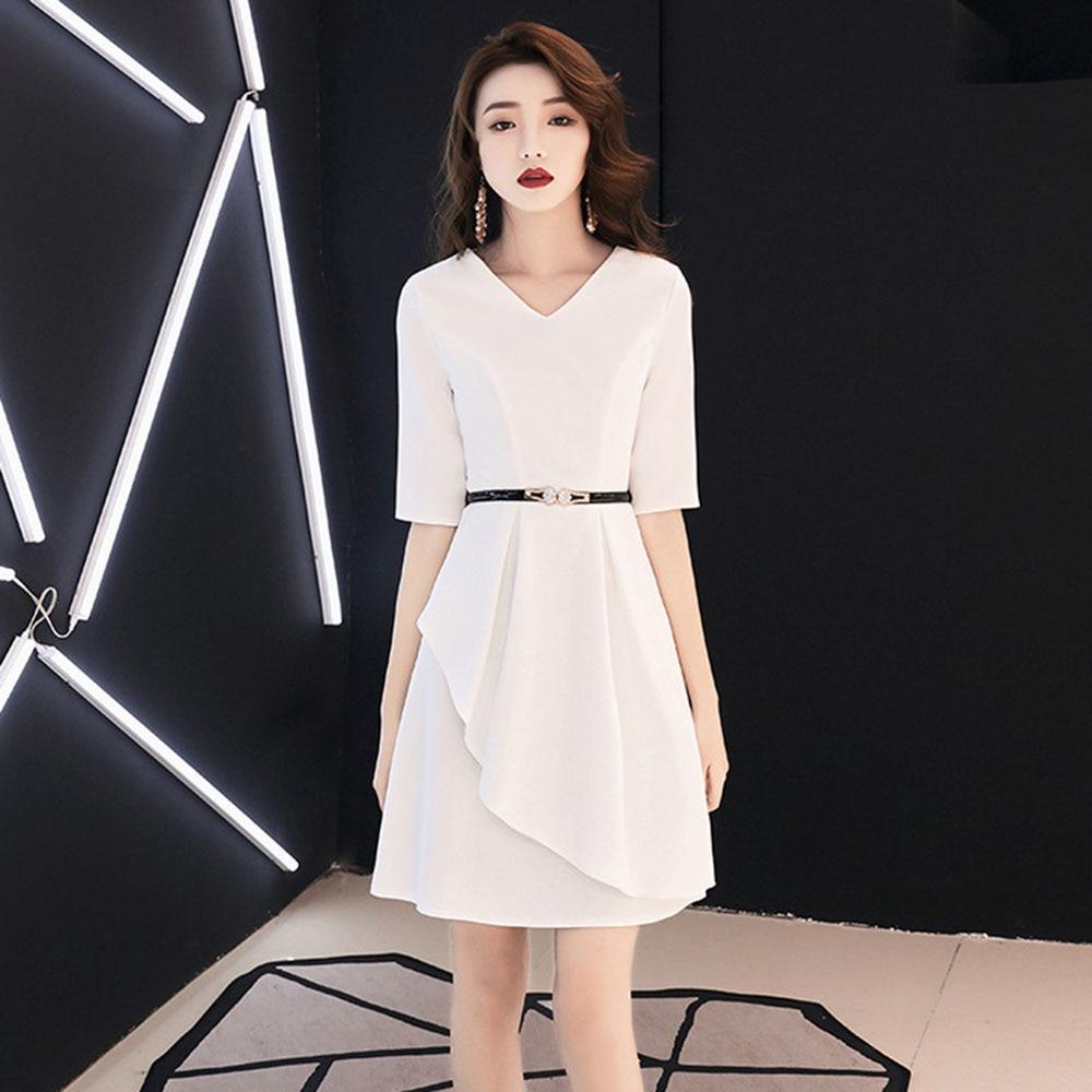 Sexy White Cocktail Dresses Elegant Women Abiti Da Cerimonia Da Sera Belt Formal Party Gown Mini V-neck Robe De Soiree