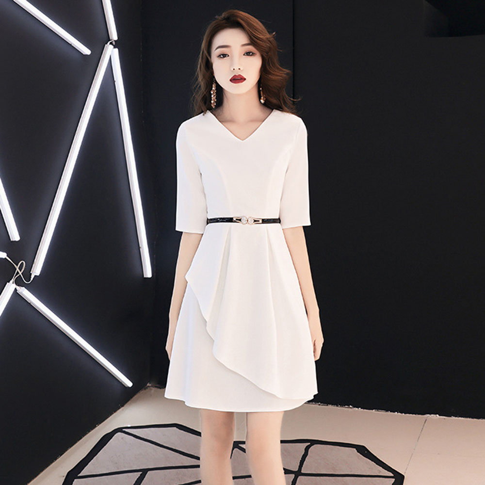 Sexy White   Cocktail     Dresses   Elegant Women Abiti Da Cerimonia Da Sera Belt Formal Party Gown Mini V-neck Robe De Soiree