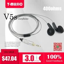 2018 New V5S High Impedance In Ear Earphone Earbud 400ohms Flat Head Plug Graphe