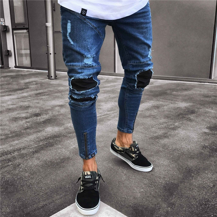 Men's Stretchy Ripped Biker   Jeans   Taped Slim Fit Denim Pants Skinny Distressed Destroyed Hip hop Zipper   Jeans   With Holes Trouser