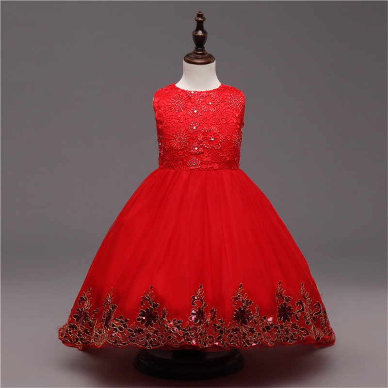 Red Lace Girl Dress Sleeveless Princess Wedding Ceremonies Party Pageant Dresses Girls Children Clothing gorgeous flower lace girls dresses children party ceremonies clothing princess baby girl wedding dress birthday bow christening