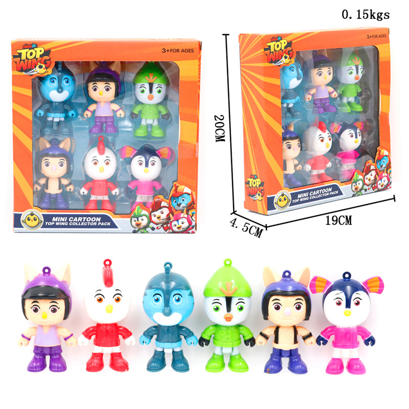 6pcs/set Popular Children's Cartoon Top Wings Action Figures Toys Swift, Rod, Penny, Brody Figure Toys Collection Model Dolls