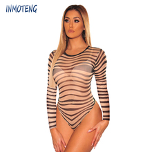 INMOTENG Nude Black Sheer Mesh Swirl Illusion Striped Bodysuit Women Long Sleeve