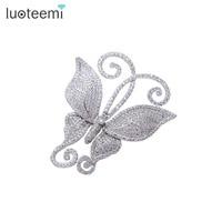 Teemi New Fashionable Delicate Clear Shining CZ Rhinestone Vintage Butterfly Cute Brooch Pins For Women Wedding