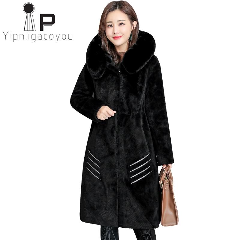 Winter Long Sheepskin Coat Women Fox Fur Collar ooded Faux Fur Coat Fur Jacket Women Overcoat Plus size Thicken Warm Outerwear