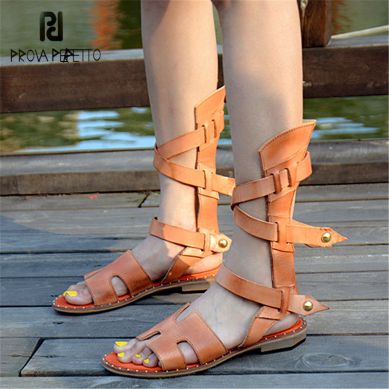 Prova Perfetto 2018 New Arrival Hollow Out Women Sandals Peep Toe Straps Summer Boots Flat Shoes Woman Sandalias Mujer цены онлайн