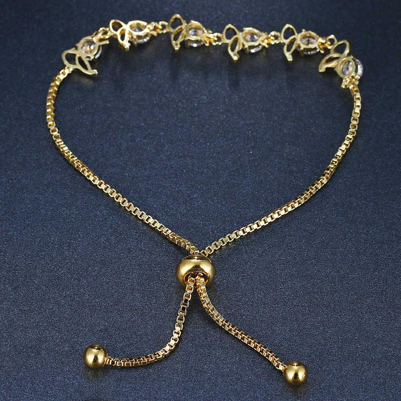 EMMAYA Кристалл Регулируемый браслет для женщин розовое золото цвет кубического циркония CZ браслеты и цепи ювелирные изделия подарок