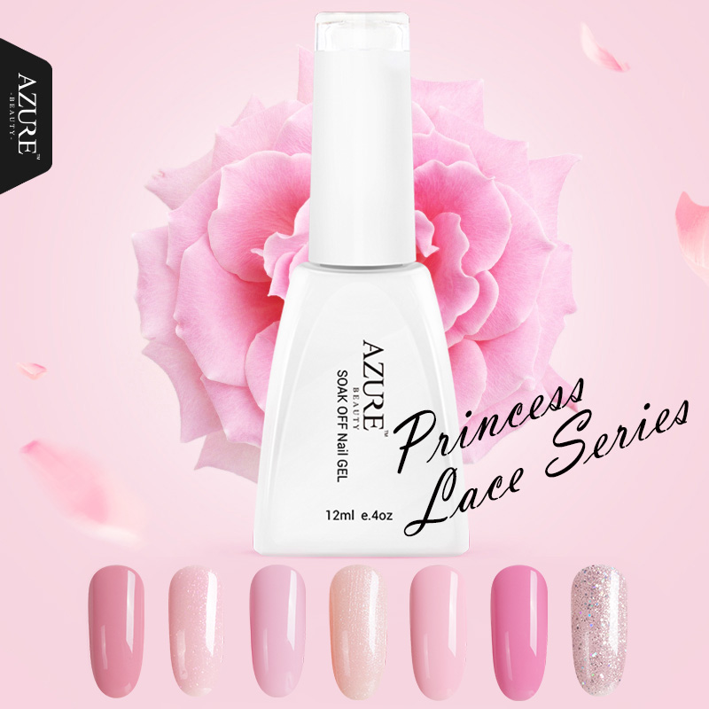 Azure Beauty Princess Series Färger UV Gel Polish Pink Gel Avbländ Led Lamp Nail Gel Polish Lack For Long-lasting Gel Polish