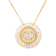 Poshfeel 26 Initial Letter Necklace Women Gold Cubic Zirconia Pendant Necklace CZ Collares Gift MNE180004