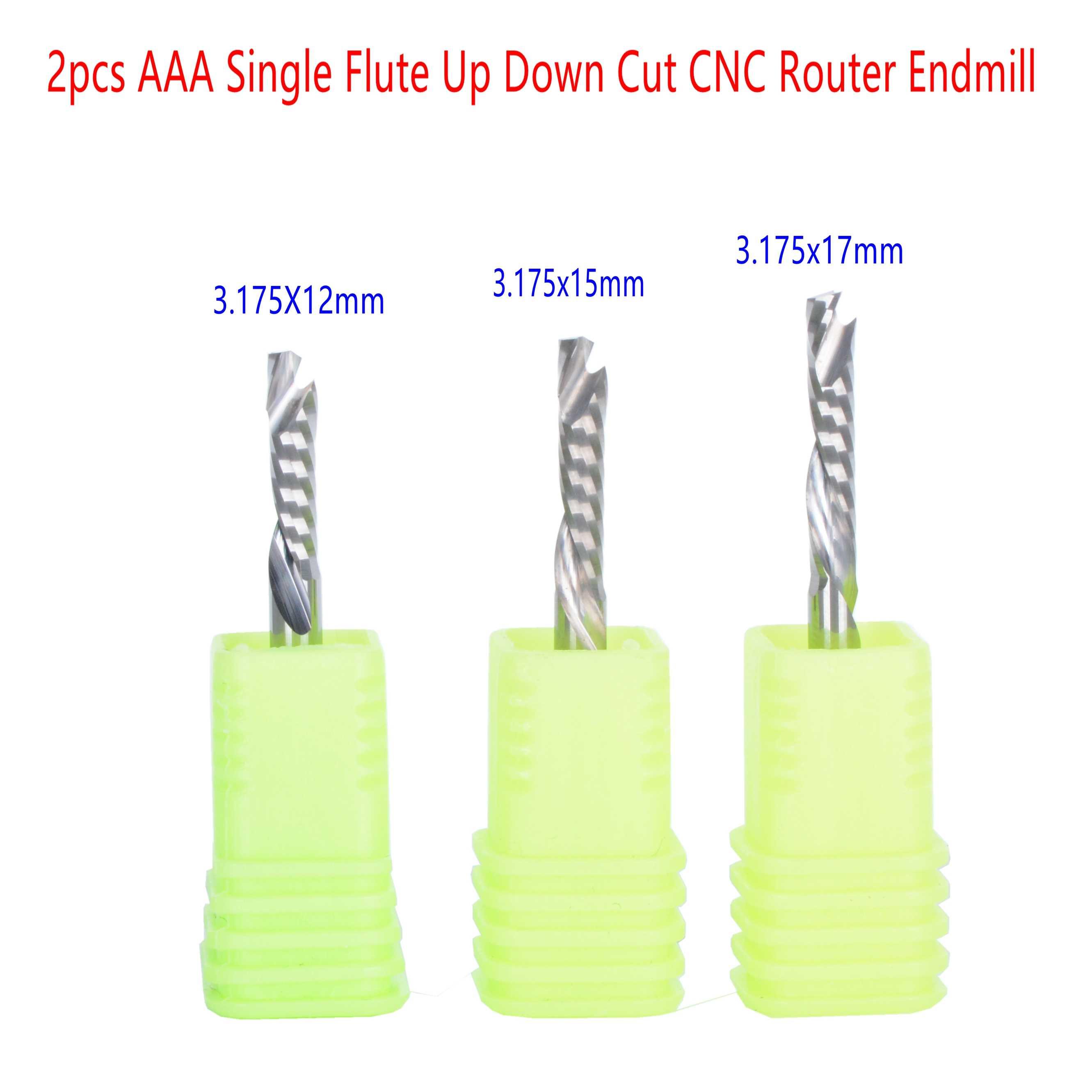 2 chiếc HSK 3.175mm AAA Đơn Sáo Lên Xuống Cắt CNC Router Endmill cho CNC Router nén Gỗ Cấp Cối Xay Cắt Bit