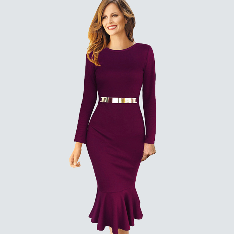 Autumn Winter Party Bodycon Dress Long Sleeve Decoration ...