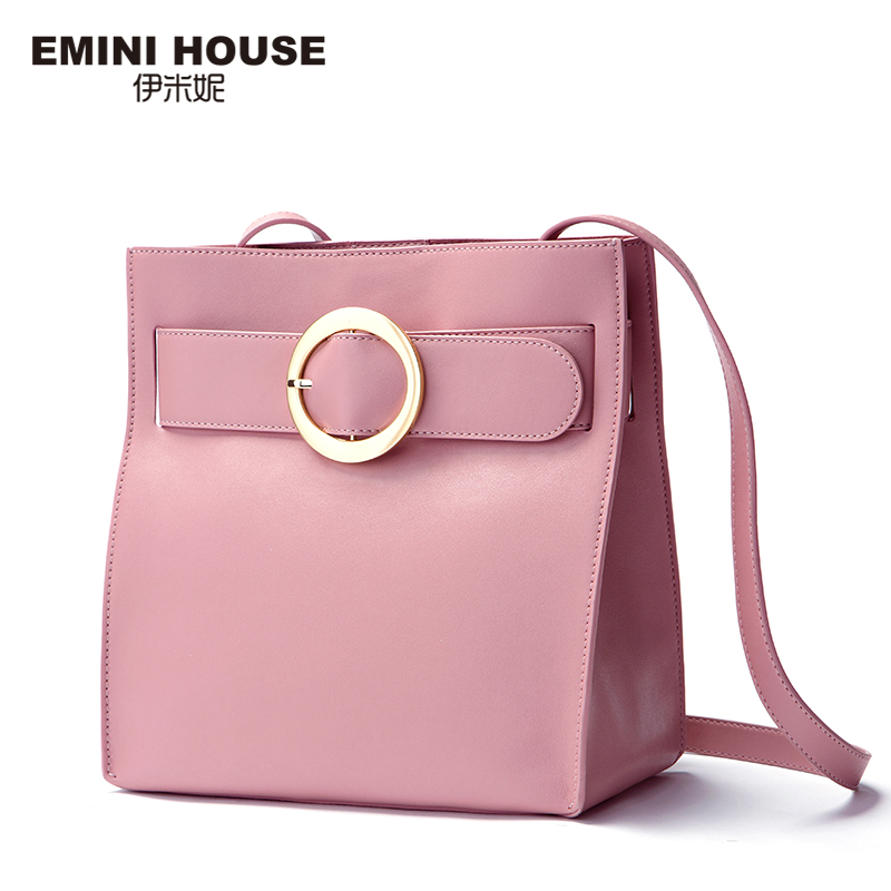 EMINI HOUSE Fashion Circle Shoulder Bag Split Leather Crossbody Bag For Women Fashion Shoulder Bags Women Messenger Bags серьги fashion house даниэлла цвет серебряный белый