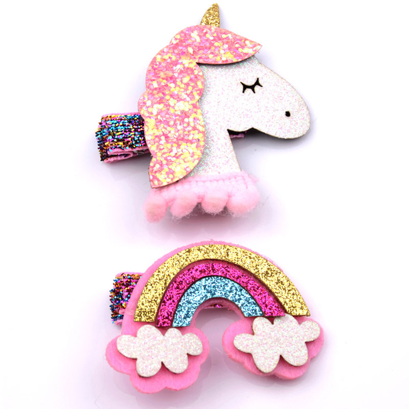 2Pcs/Lot Fashion Girls   Headwear   Set Cartoon Animal Hairpins Unicorn Rainbow Hair Clips Children Shiny Hairpins Hair Accessories