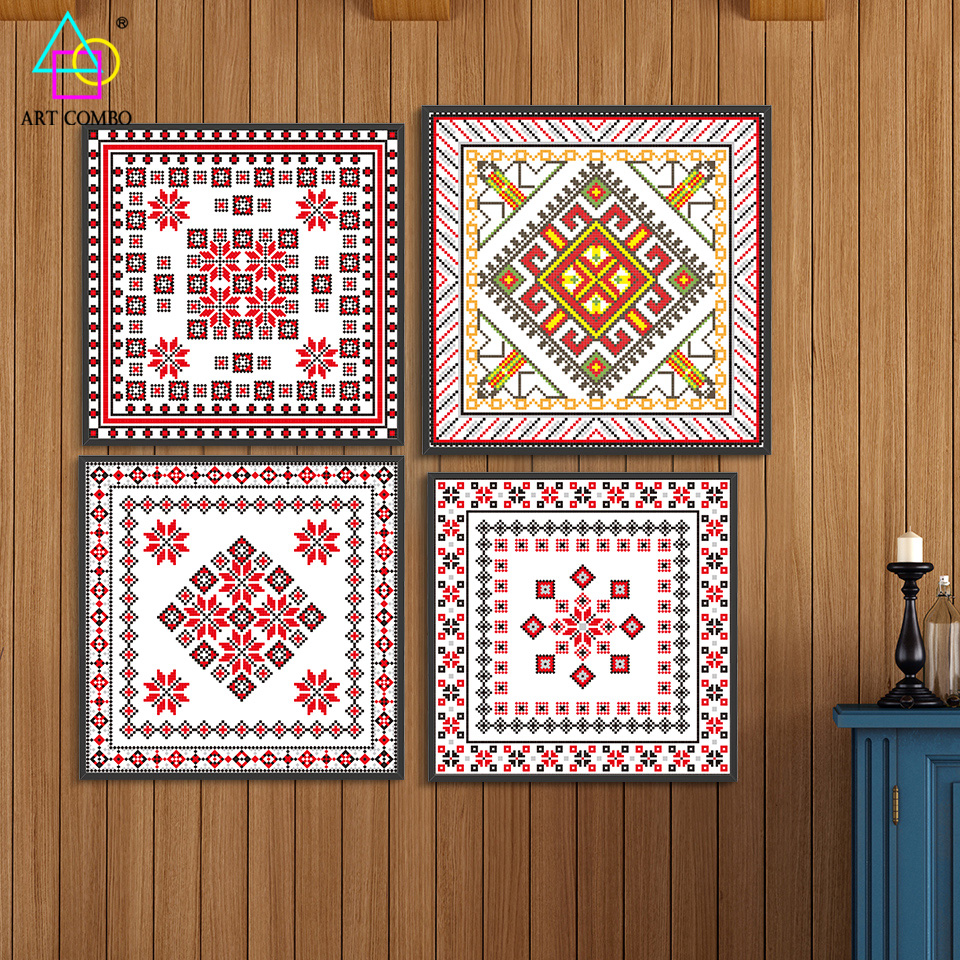 Wall paint square patterns - Different Style Classical Designs Pattern Canvas Painting Wall Art Picture Home Decor Square Single Art Combo One Piece Dn007 In Painting Calligraphy