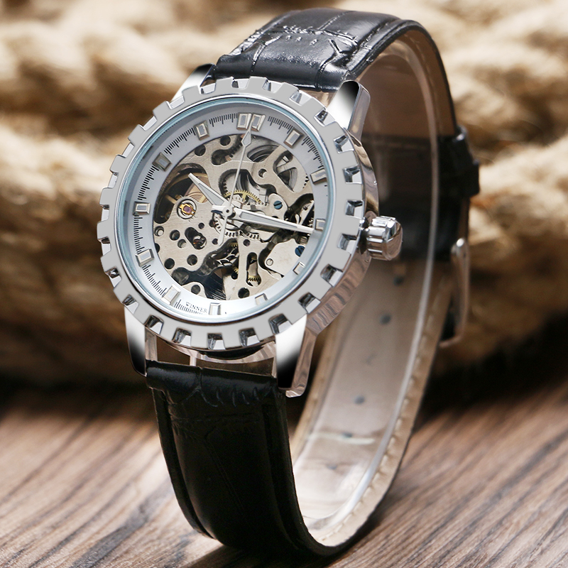 T-WINNER Automatic Mechanical Watches Fashion Luxury Gear Shape Silver Skeleton Dial Wrist Watch Men Noble Casual Clock Leather winner fashion men s automatic mechanical watches classic concise precision male wrist watches leather watch bands gift for men