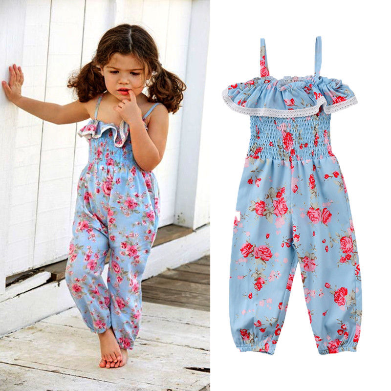 Fashion Toddler Kids Baby Girl Clothes Sleeveless Ruffle Strap Floral Print Romper Jumpsuit Harem Summer Clothing Outfits 6M-5T