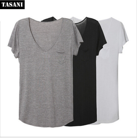 2015 Spring And Summer Basic T shirt Women V Neck Black Gray White ...