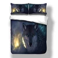 Wolf Bedding Set Twin Full Queen King Size HD Print Duvet Cover Quilt Cover Pillow Cases Horse Tiger Unicorn Bird 3pcs