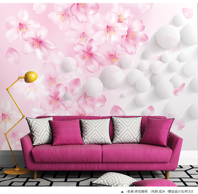 Free shipping Large living room TV setting wall mural wallpaper ...