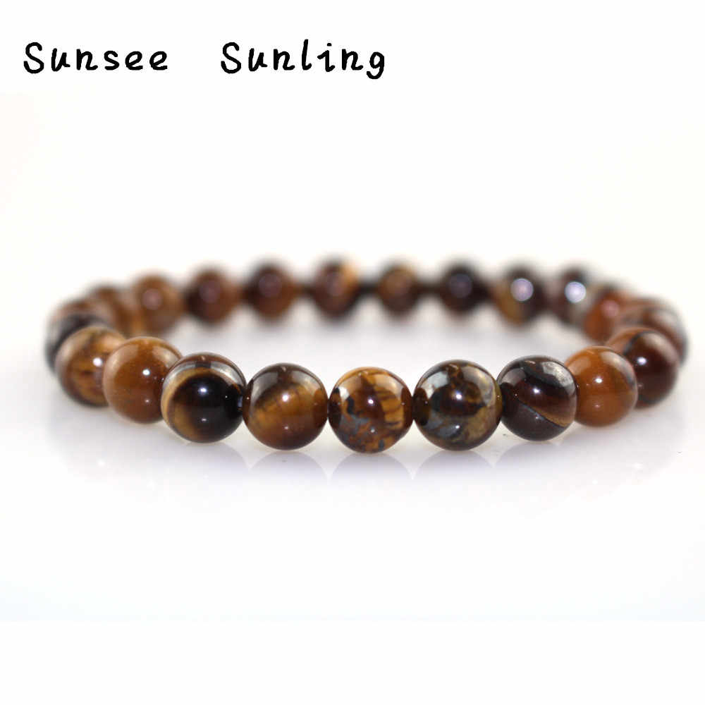 Minimalist Natural Stone Tiger Eyes Beads Bracelet Charms Obsidian Buddha Meditation Braclet For Men Yoga Jewelry Pulseira Homme