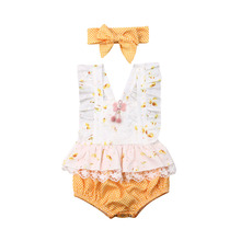 0-24M Newborn Baby Girls Flower Rompers Cute Lace Ruffles Jumpsuit Playsuit Floral Sleeveless Girl Costumes Summer Clothes