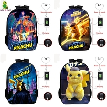 Pokemon Detective Pikachu USB Bagpack 16 Inch School Backpacks for Teens Boys Girls Backpack BookBag Laptop Back Pack