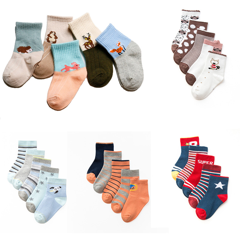 5 pair/set Autumn winter Cartoon children's combed cotton boys girls baby socks title=