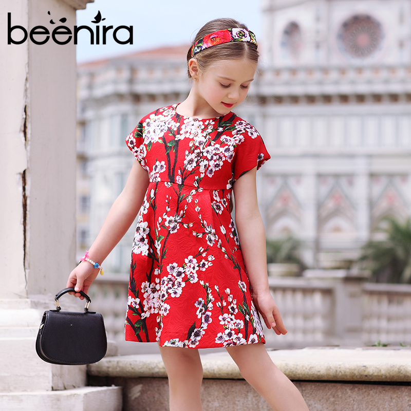 Princess Girl Party Dress European and American Style 2017 Brand Red Girls Dresses  Floral Printed Kids Dress for Girls Clothes 100% real photo brand kids red heart sleeve dress american and european style hollow girls clothes baby girl clothes