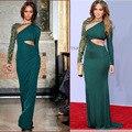 One Shoulder Beaded Jeniffer Lopez Cutout Green Dress