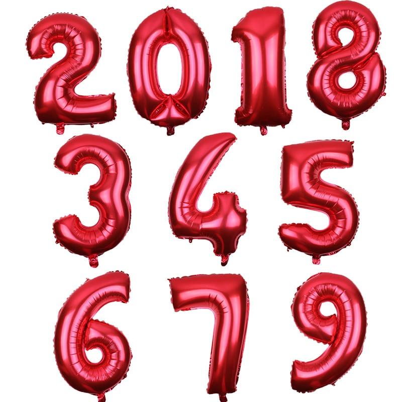 0-9 Großen Roten Anzahl Ballon Geburtstag Dekorationen Kinder Folienballons Tier Helium-luftballons Party Favors Ballons Dekoration