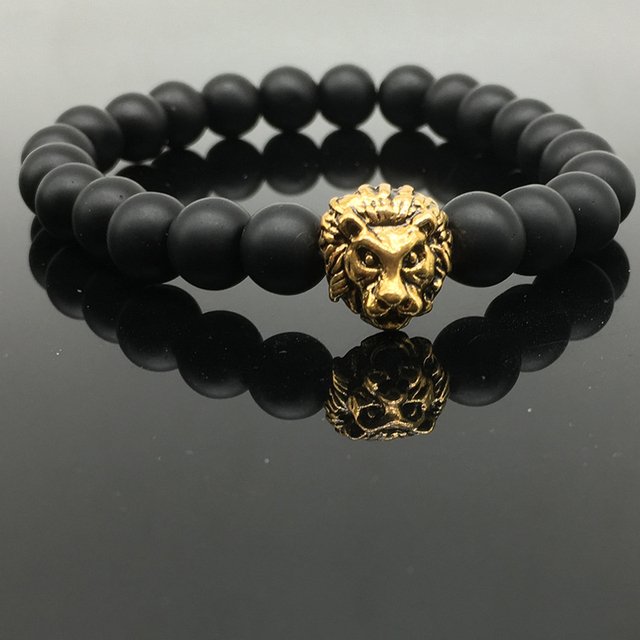 Shellhard אופנה האריה ראש צמיד בודהה חרוזים צמידי צמידי קסם טבעי אבן צמיד לגברים נשים חרוז תכשיטים