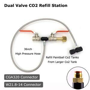 """Image 1 - YENI Paintball PCP Deluxe Çift Vana CO2 Dolum Istasyonu Adaptörü Ile 36 """"Paslanmaz Çelik örgülü hortum CGA320 ve W21.8 14 (DIN 477)"""