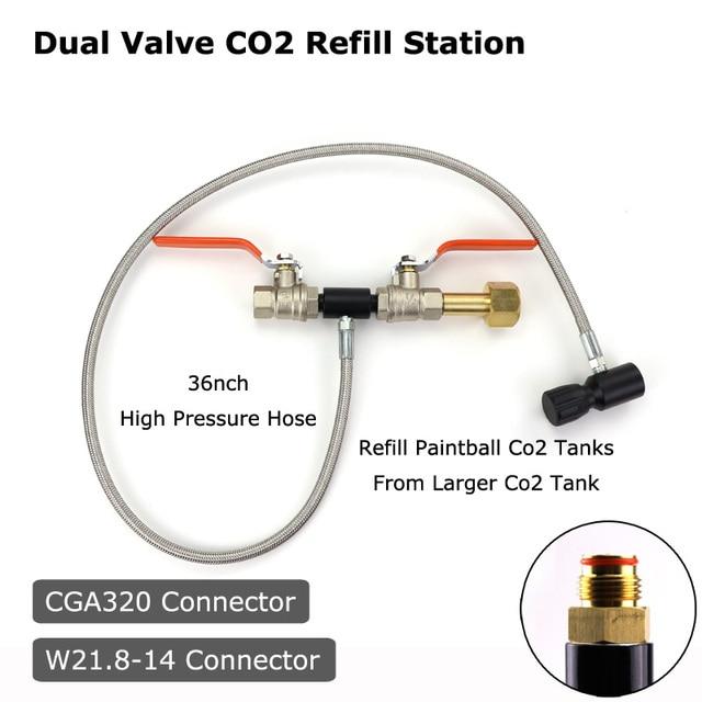 """YENI Paintball PCP Deluxe Çift Vana CO2 Dolum Istasyonu Adaptörü Ile 36 """"Paslanmaz Çelik örgülü hortum CGA320 ve W21.8 14 (DIN 477)"""