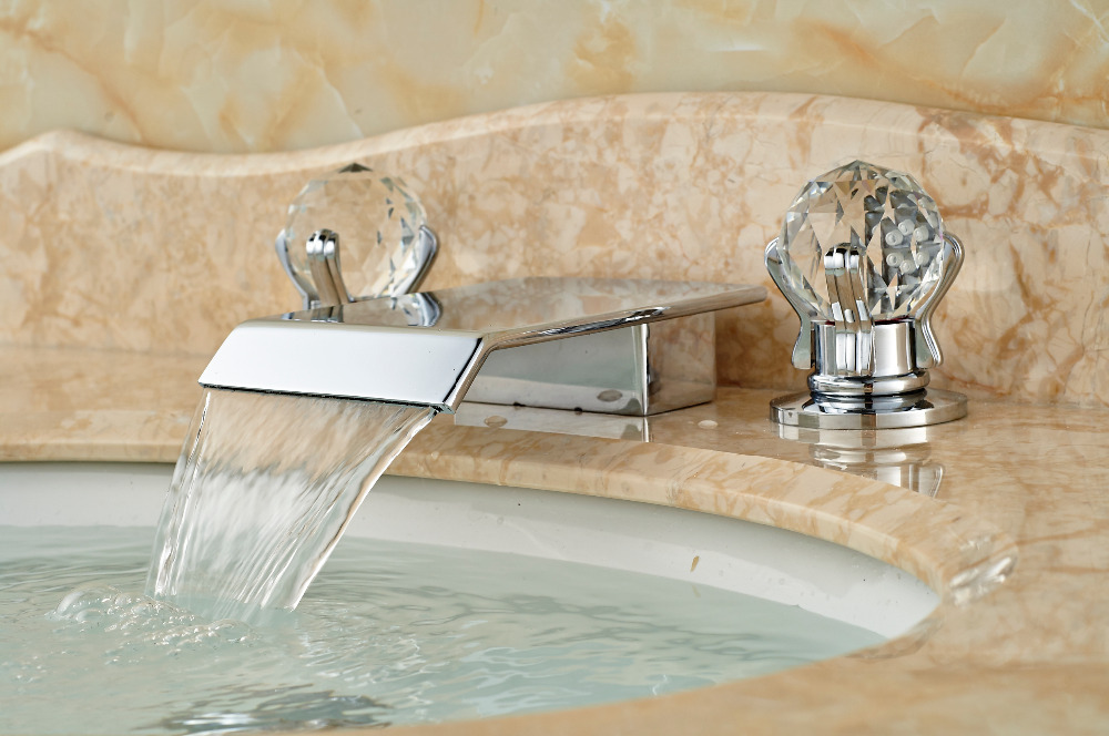Polished Chrome Brass Waterfall Bathroom Faucet Crystal Handles Vanity Mixer Tap