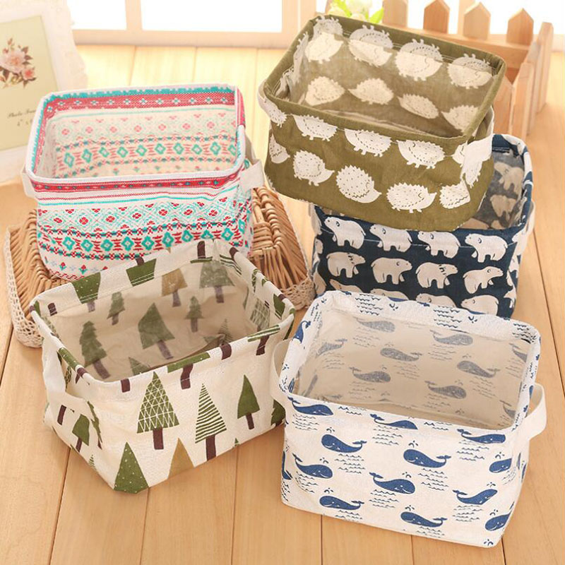 Foldable Cotton Linen Desktop Storage Box Organizer with Handle Sundries Makeup Organizer Basket Container For Toys Dirty Cloth
