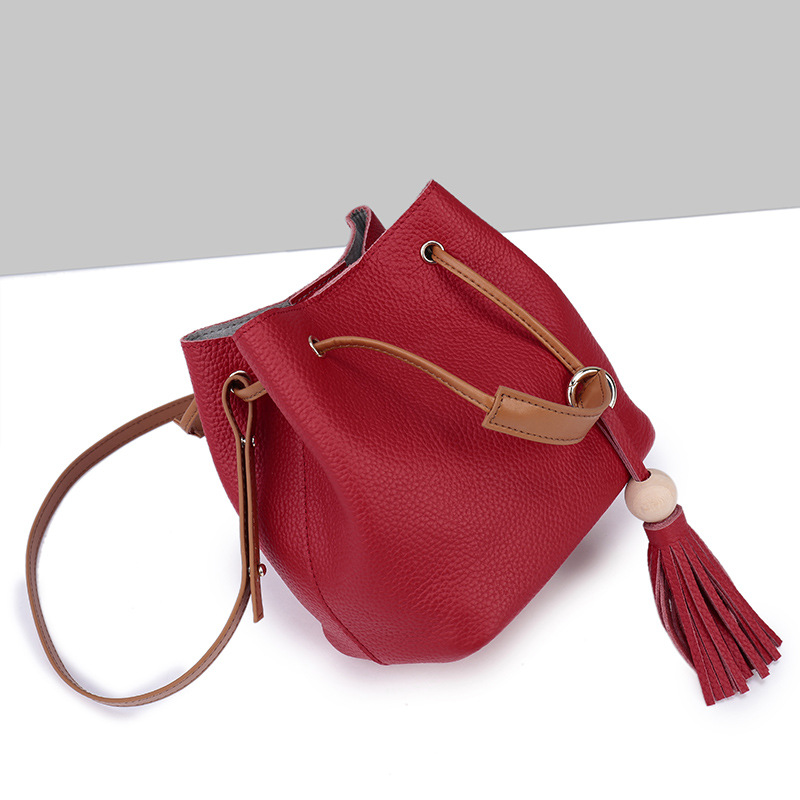 Famous Brands Women Leather Handbags Top Layer Cowhide Bucket Bags High Quality Genuine Leather Designer Lady