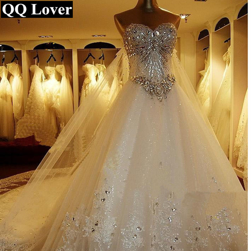 2019 New Luxury Big Train Wedding Dress Sexy Crystals Beaded Bridal Gown Custom Made Plus Size Wedding Gown