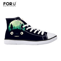 FORUDESIGNS Totoro Classic Women Canvas Shoes Autumn High Top Flats Women Vulcanized Shoes Custom Female Casual Shoes