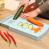 The drawer type storage block cutting board with double slice grater chopping 31.5*22.5*4cm
