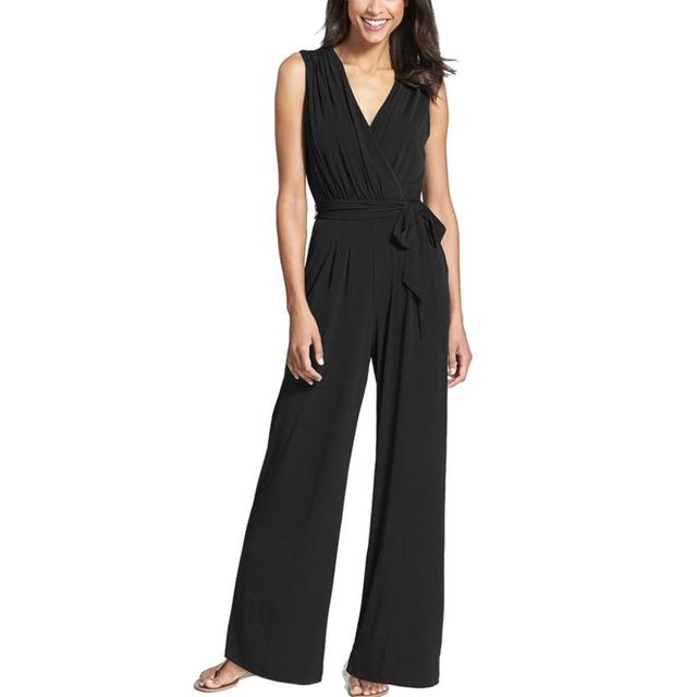 b49f5746f5 Wide Leg Elegant Sashes Jumpsuits Black V-neck Embellish Cuffs Long Mesh  Sleeves Plus Size Overalls For Women Combinaison Femme