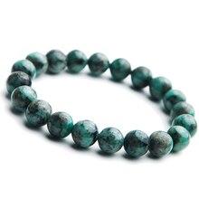 Real Natural Green Emerald Crystal Round Beads Bracelet 10mm Gemstone Lucky Women Stone Rarest Jewelry AAAAA
